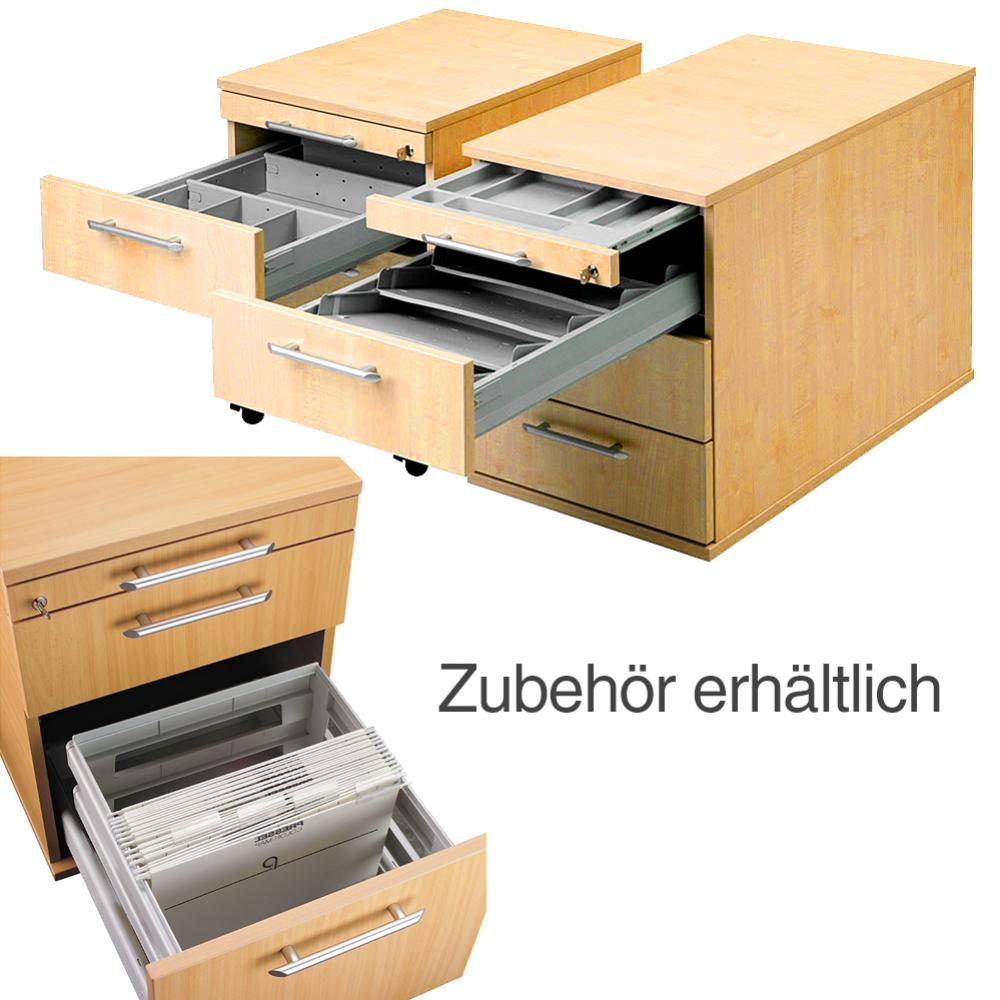 7 Farben 3 Schubladen abschließbar Rollcontainer Hammerbacher