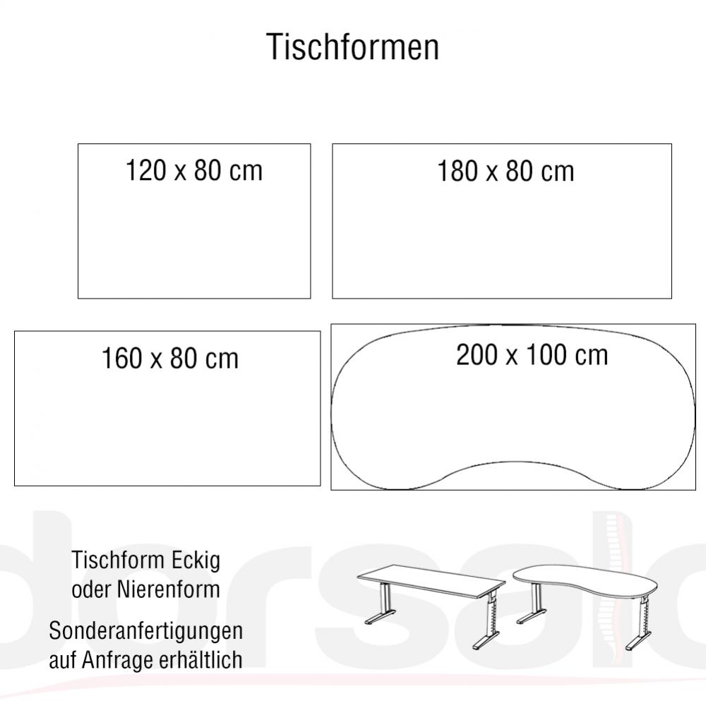Ergonomischer bürotisch  Hammerbacher Serie U ergonomischer Schreibtisch höhenverstellbar